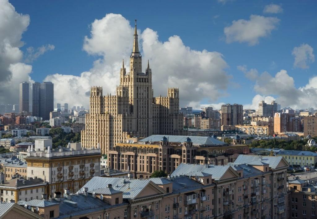 Blick auf das Gebäude des russischen Außenministeriums in Moskau