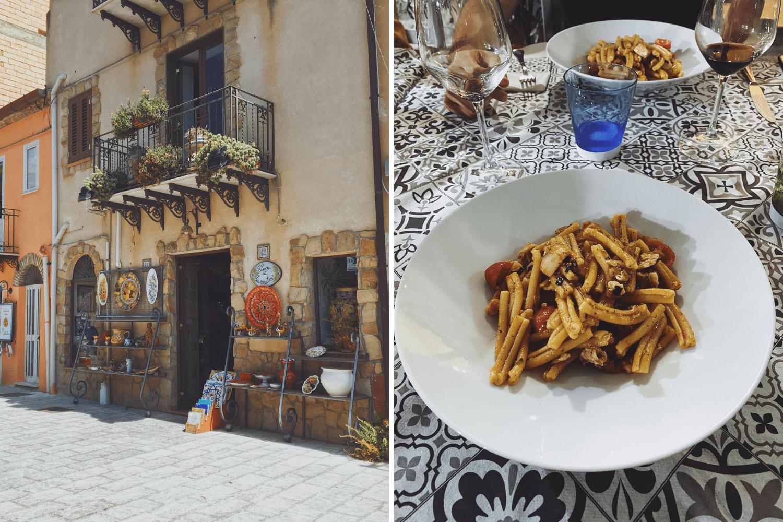 Bild aus Santo Stefano di Camastra und einer Portion hausgemachter Nudeln