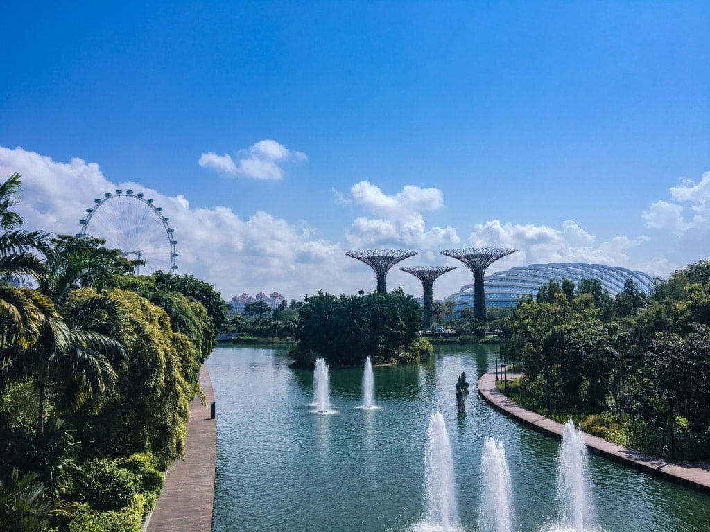 Blick auf Singapur: Gardens by the bay
