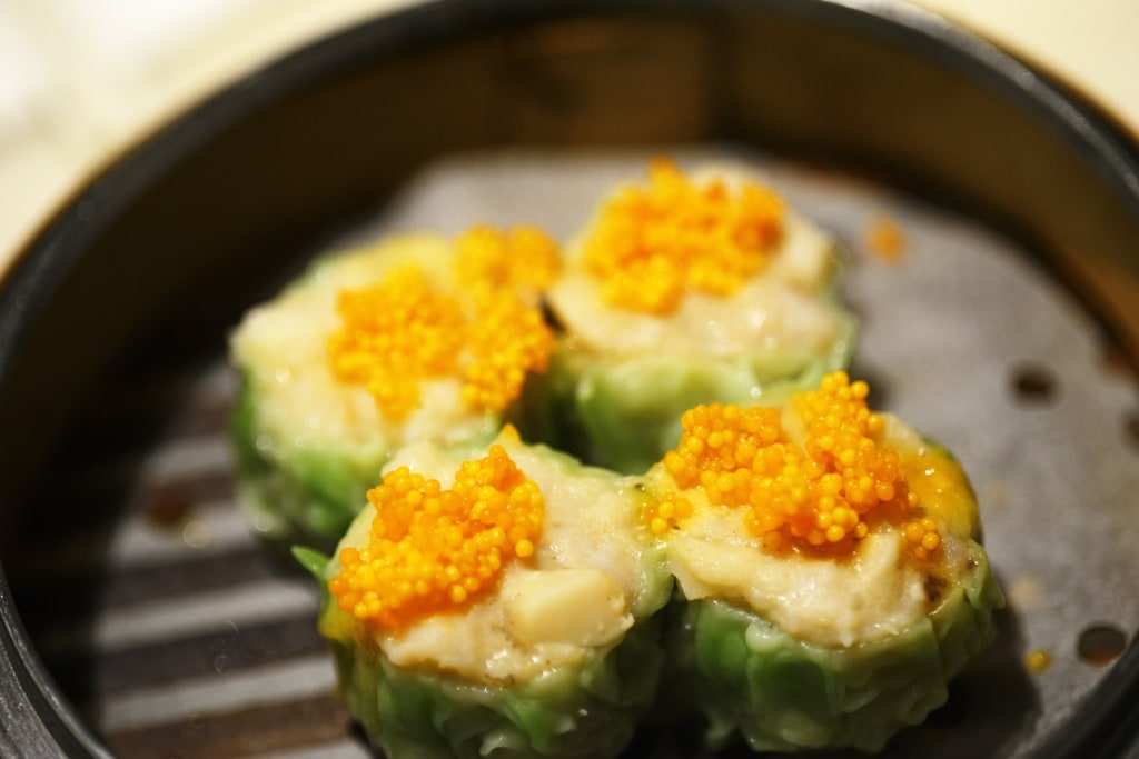 Tipps für Hongkong Crab Roe Pork Dumpling, Dim Sum, Yum Cha Restaurant, Hong Kong, China, Asien