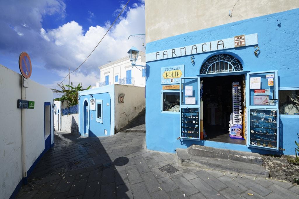 Apotheke, Insel Stromboli, Liparische oder Äolische Inseln, Sizilien, Italien, Europa
