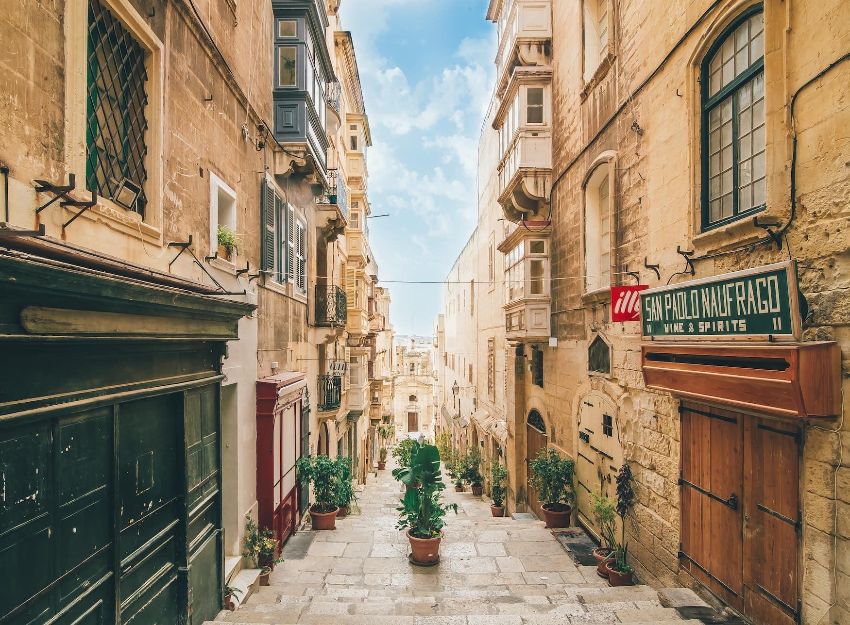 Enge Gassen in der Altstadt von Valletta