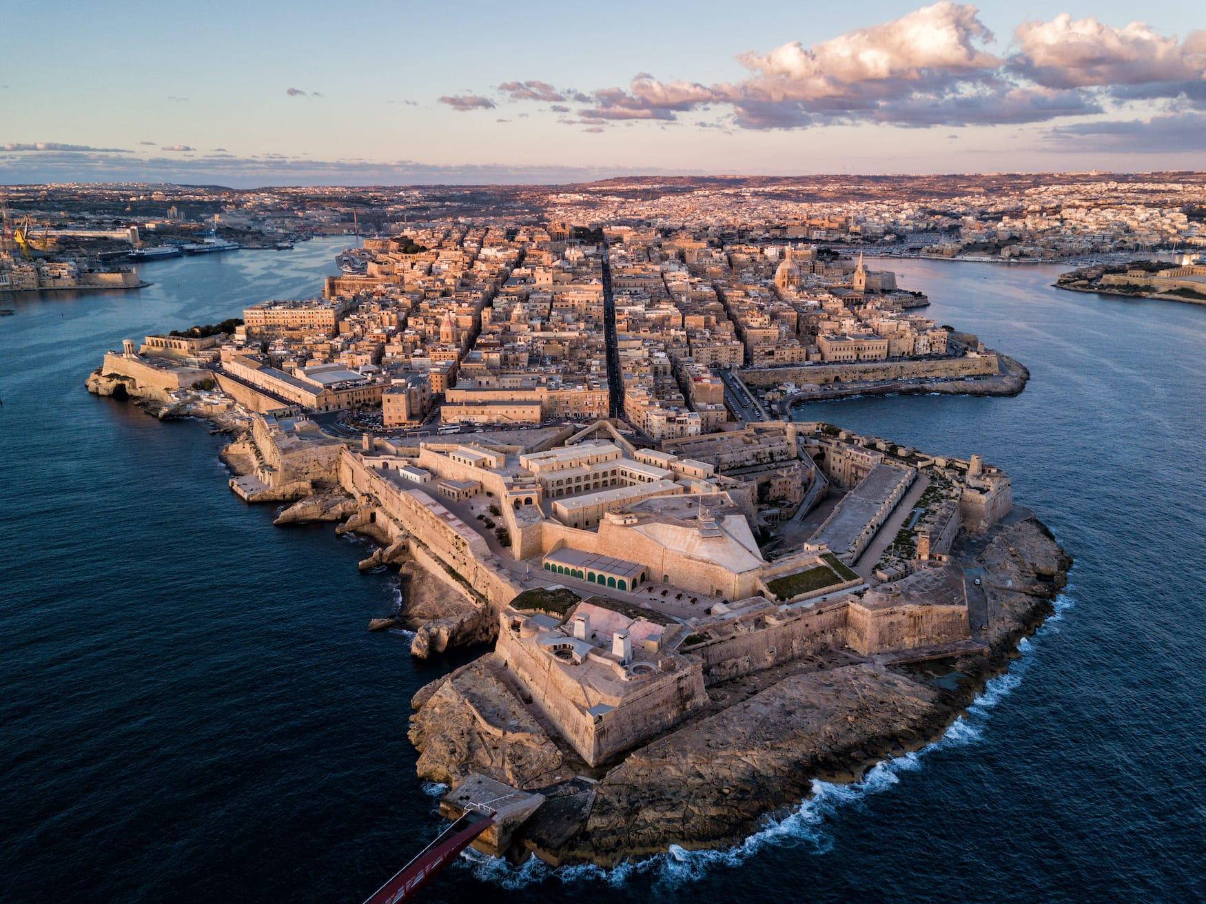 Fort St. Elmo in Valletta, Malta, aus der Vogelperspektive