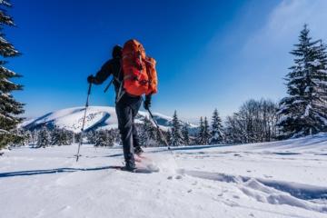 Mann von hinten beim Schneeschuhwandern