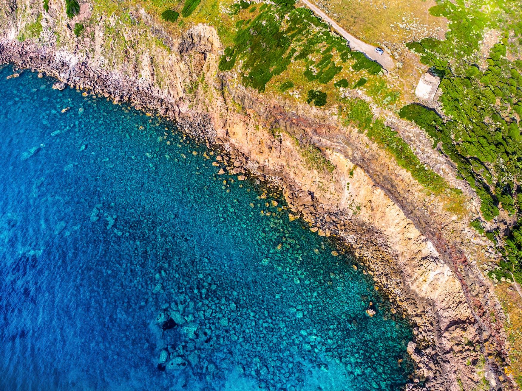 Punta Foghe aus der Vogelperspektive