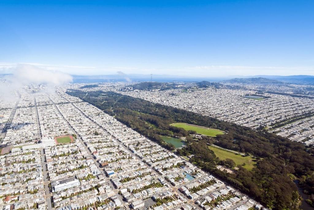 Golden State Park in San Francisco aus der Vogelperspektive