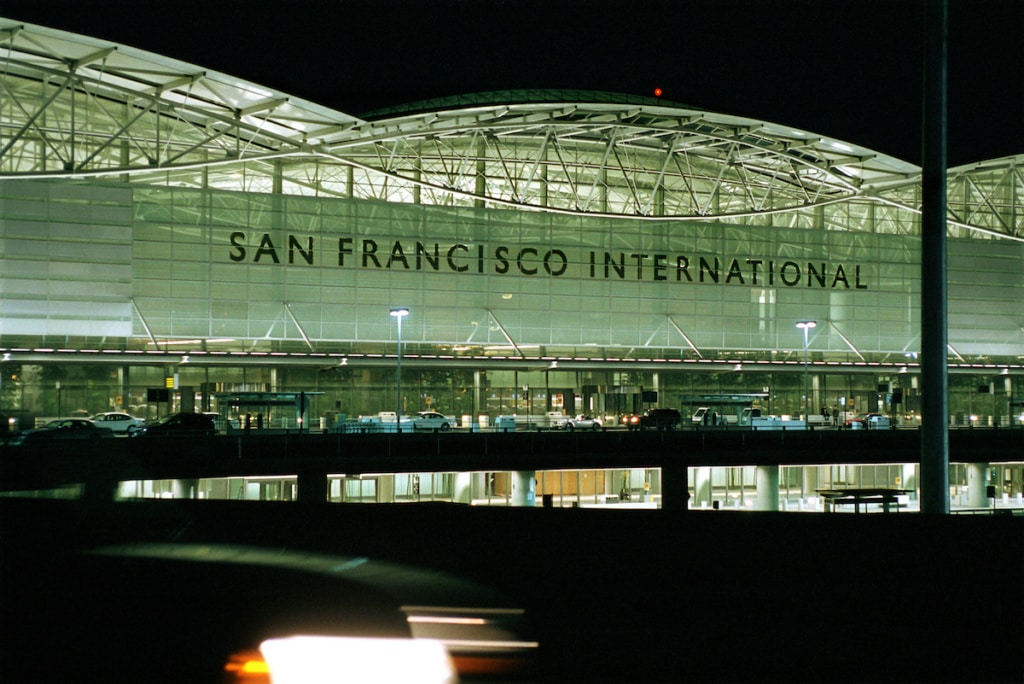 A nighttime view of San Francisco International Airport's International Terminal. The complex opened in December 2000.