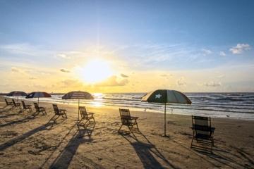 Küste von Texas: Strand auf Galveston Island