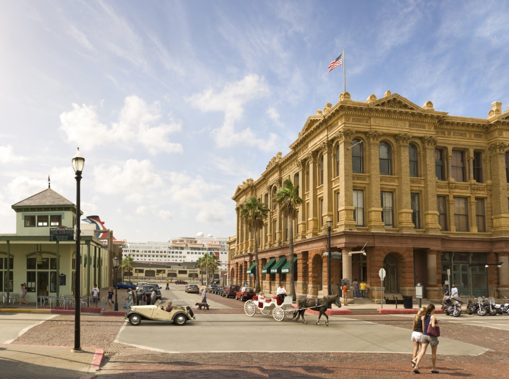 Downtown von Galveston in Texas