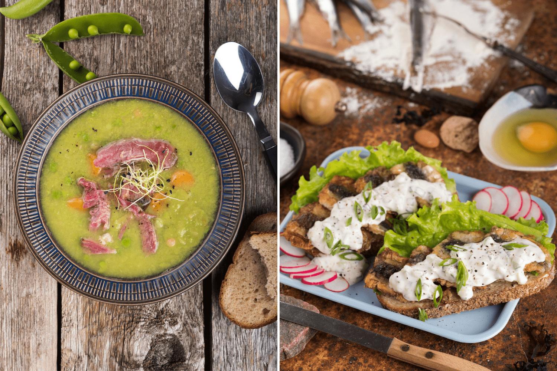 Deftige Gerichte wie Erbsensuppe der estnischen Küche