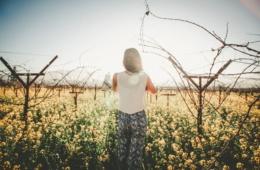 Frau mit RückeKamera im Weinanbaugebiet