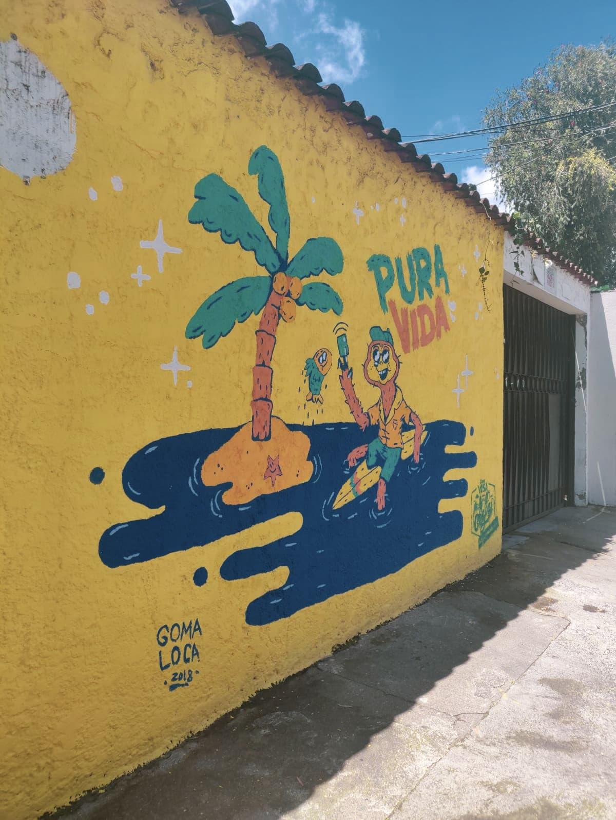 Pura Vida Graffiti in Straßen von San Jose