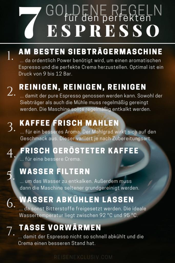 Sieben goldene Regeln für den perfekten Espresso