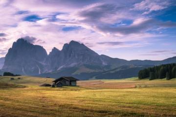 Seiser Alm in Italien bei Sonnenuntergang