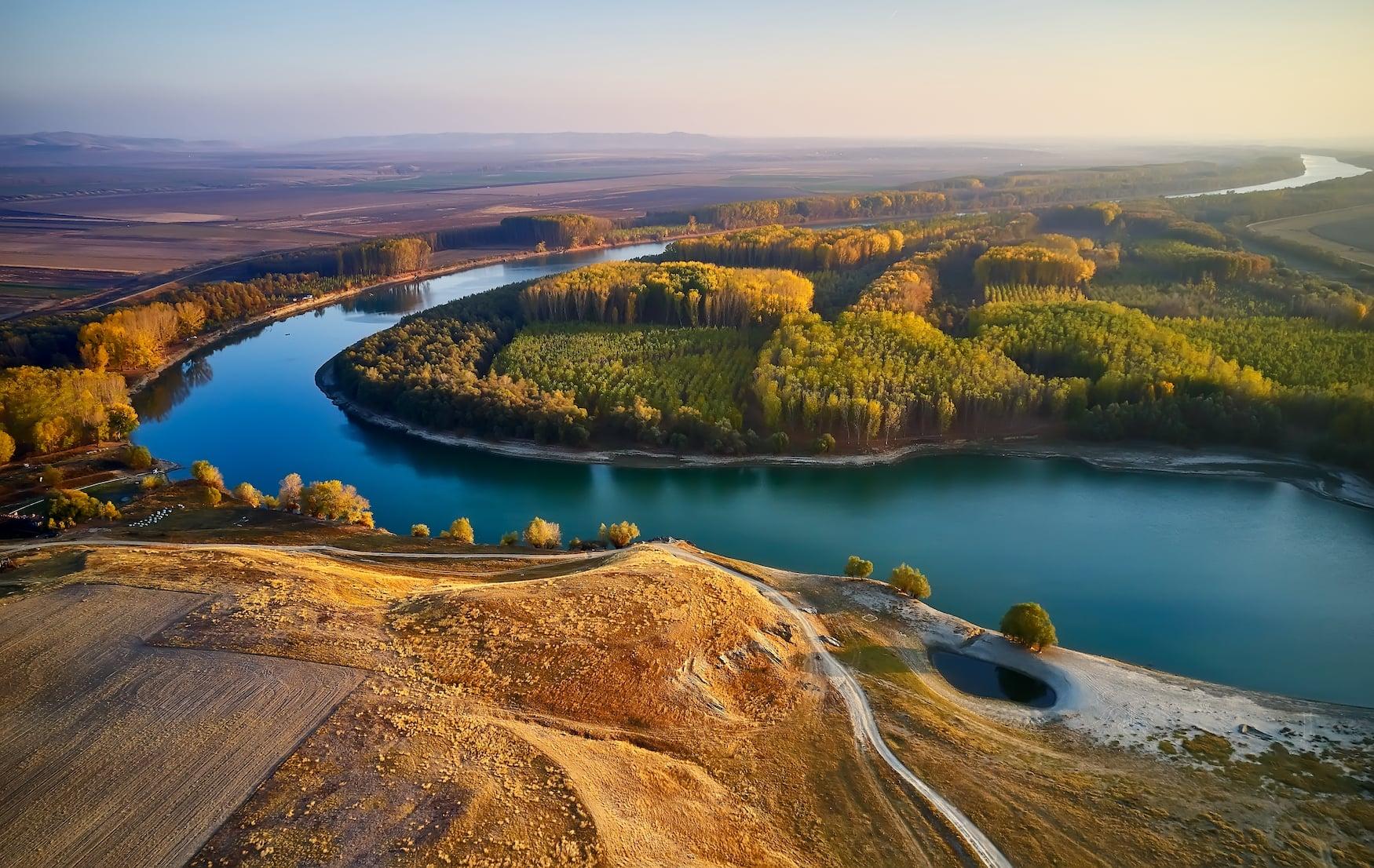 Donaudelta in Rumänien bei Sonnenuntergang