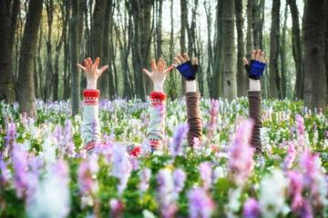 Mädchenhände ragen aus Blumenwiese hervor