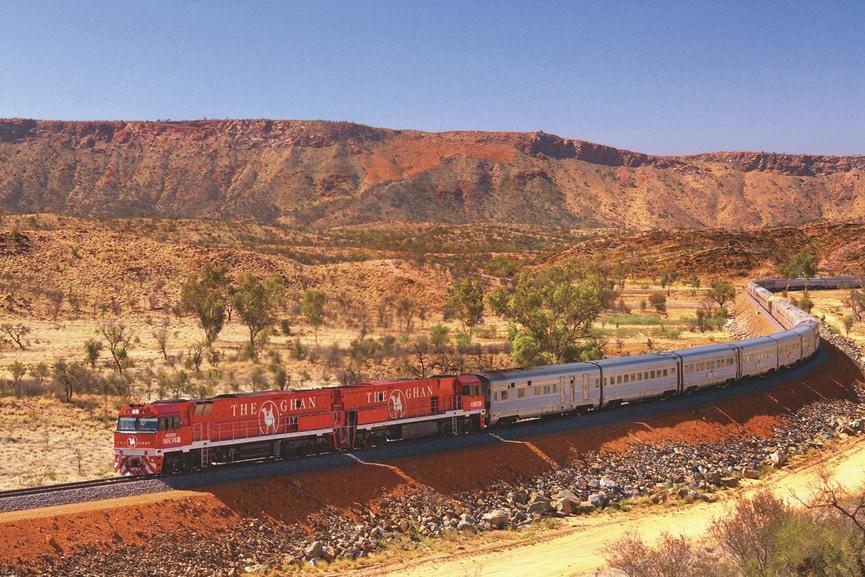 Zugfahrt in Alice Springs: unterwegs mit dem The Ghan