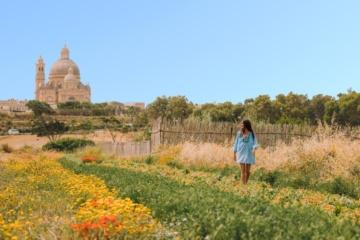 Frau auf Feld auf Malta