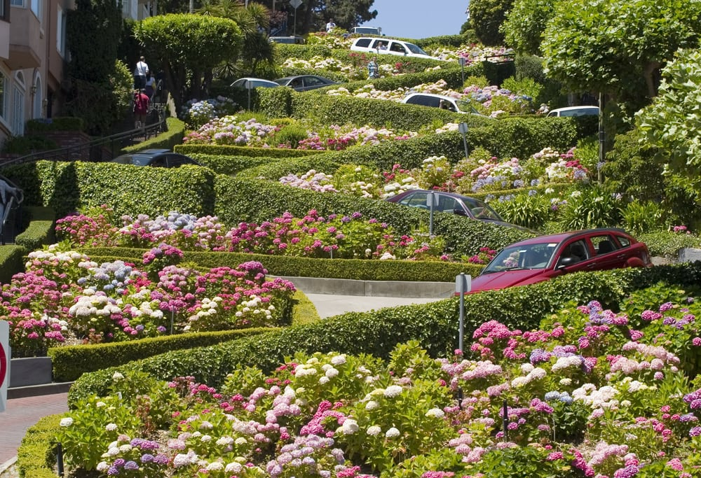 Autos auf der Lombard Street in San Francisco