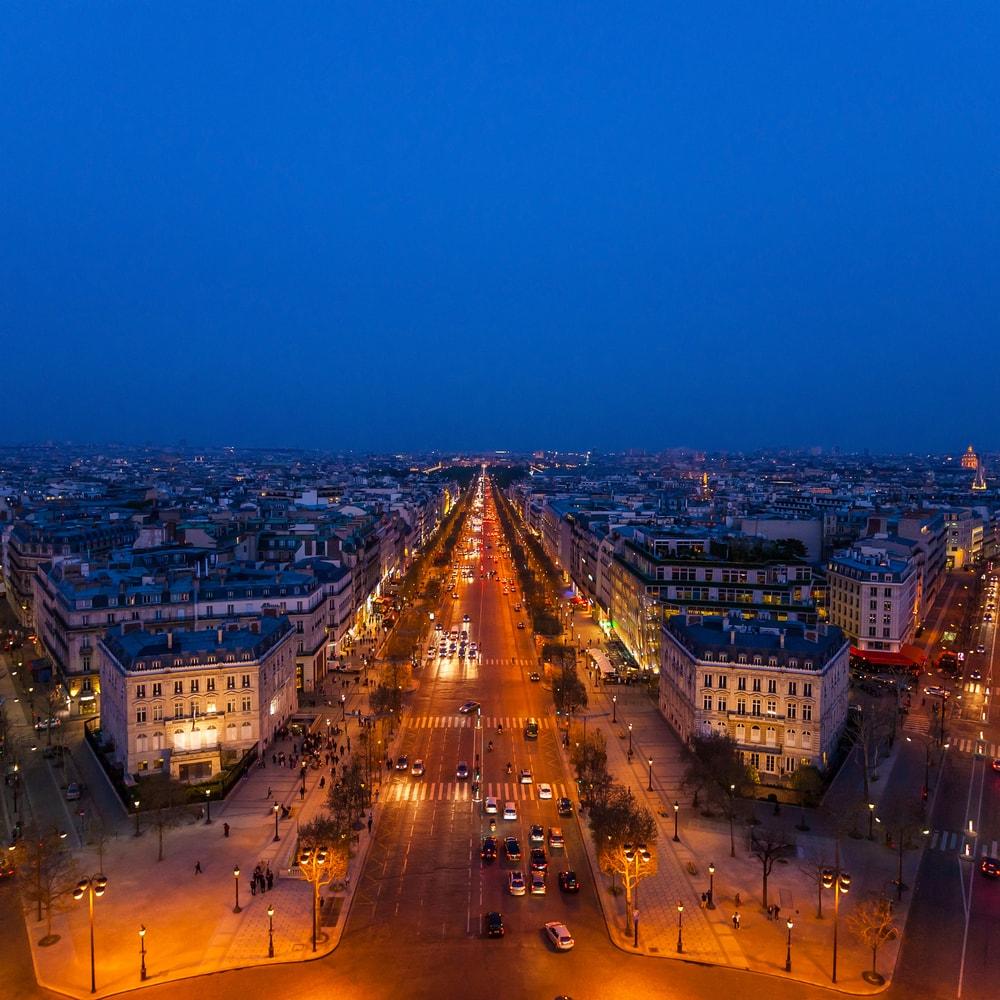 Champs-Elysées in Paris aus der Luft