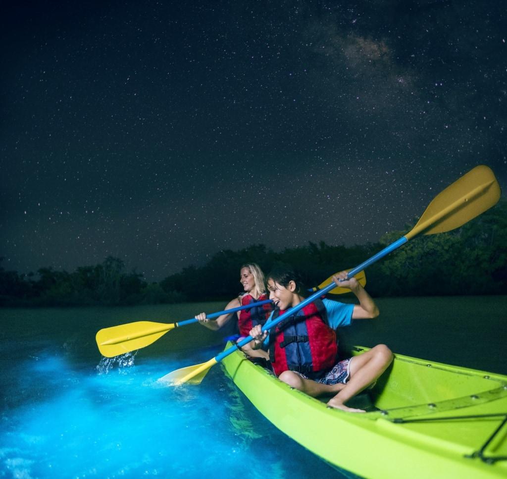 durch Biolumineszenz leuchtendes Wasser in Puerto Rico