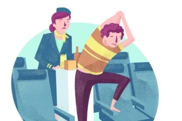 Illustration Flugbegleitern und Passagier der sich stretcht