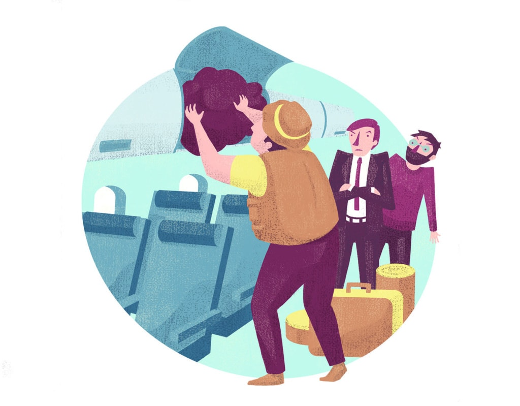 Illustration dreier Passagierer im Flugzeug. Ein Passagier lädt sein Gepäck im Fach ab, zwei warten verärgert
