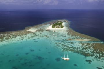 Vogelperspektive des Mirihi Island Resort