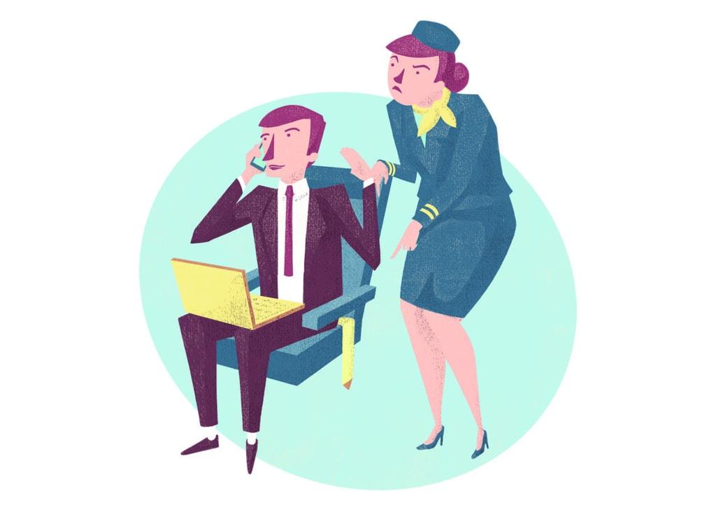Illustration: Workaholic und verärgerte Flugbegleiterini m Flugzeug
