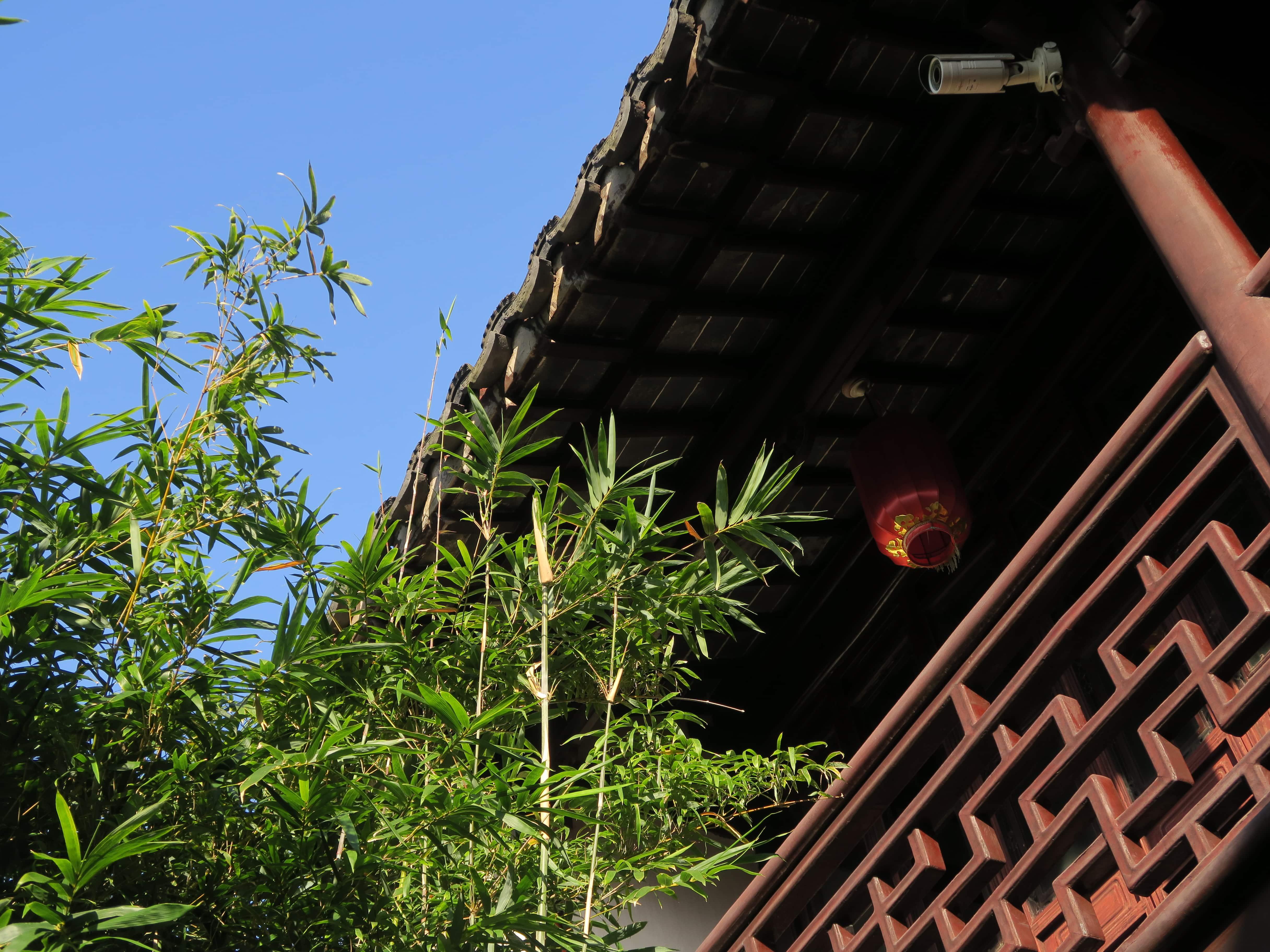 Balkon eines Pavillons hinter Bambus