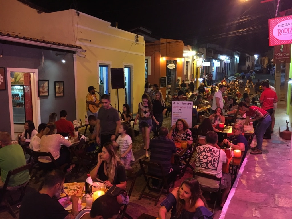 Bar- und Restaurantmeile in Lencois, Bahia