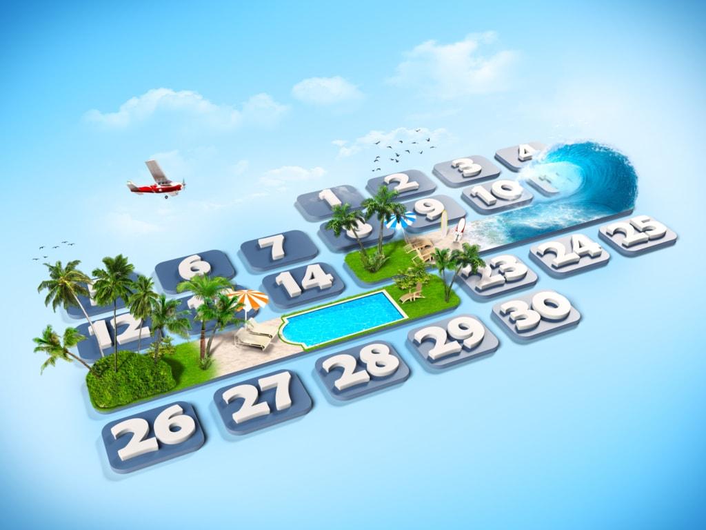 Kalendermonat mit Urlaubsmotiven