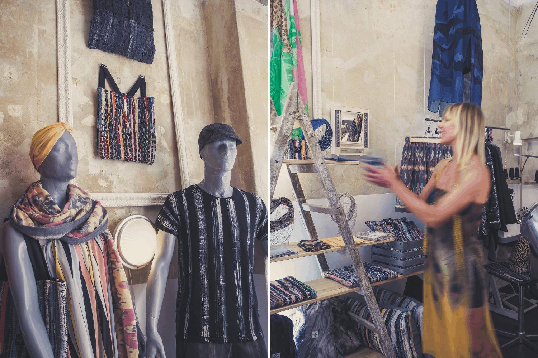 Bunte Kleidungsstücke im Popova Fashion Showroom