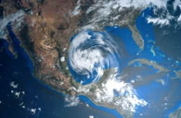 3d-Illustration eines Hurrikans in der Karibik