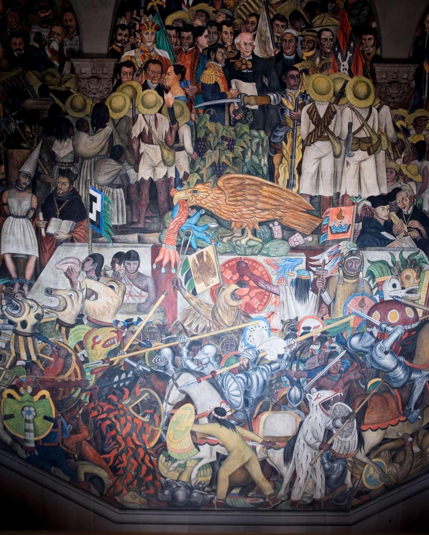 Buntes Wandgemälde mit unzähligen Menschen