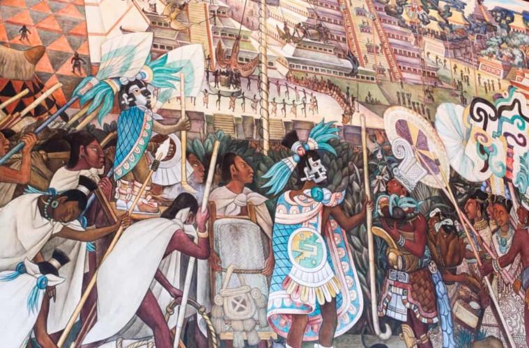 Buntes Wandgemälde mit buntem Markttreiben und Azteken