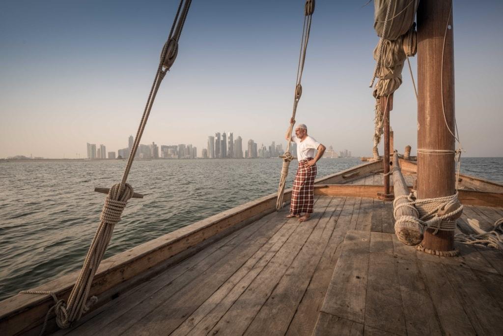 Skyline von Doha, von Dhow aus
