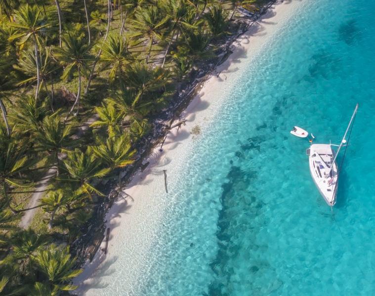 Strand der San Blas Inseln in Panama aus der Vogelperspektive