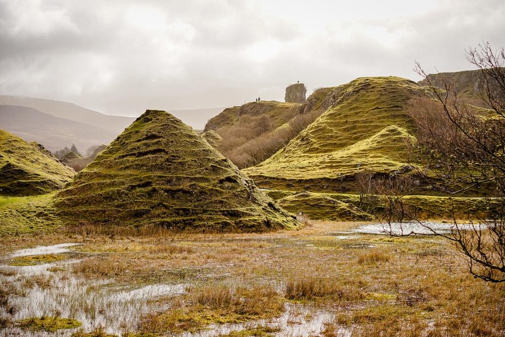 Mysthische Landschaft aus Hügeln und Moos