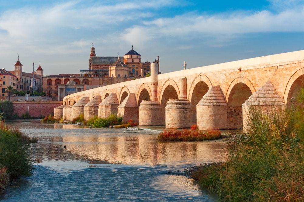 Alte Brücke mit vielen Bögen vor historischer Stadt.
