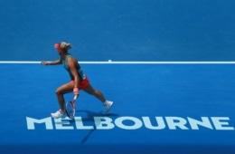 Angelique Kerber auf dem Platz bei den Australian Open in Melbourne