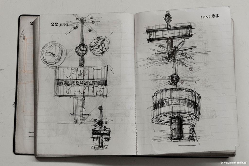 Skizzen zur Weltzeituhr in Berlin