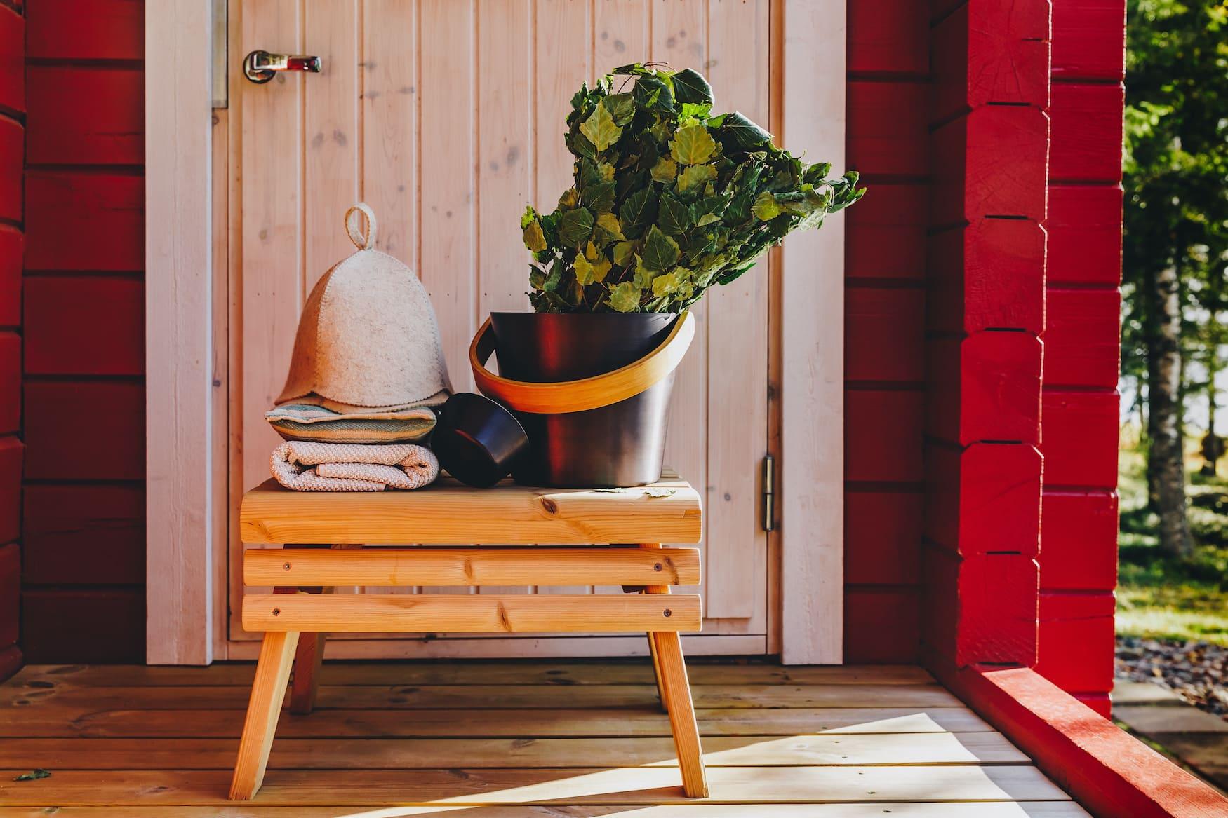 Sauna Accessoires einer finnischen Sauna