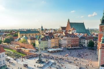 Blick auf den zentralen Platz in der Altstadt von Warschau