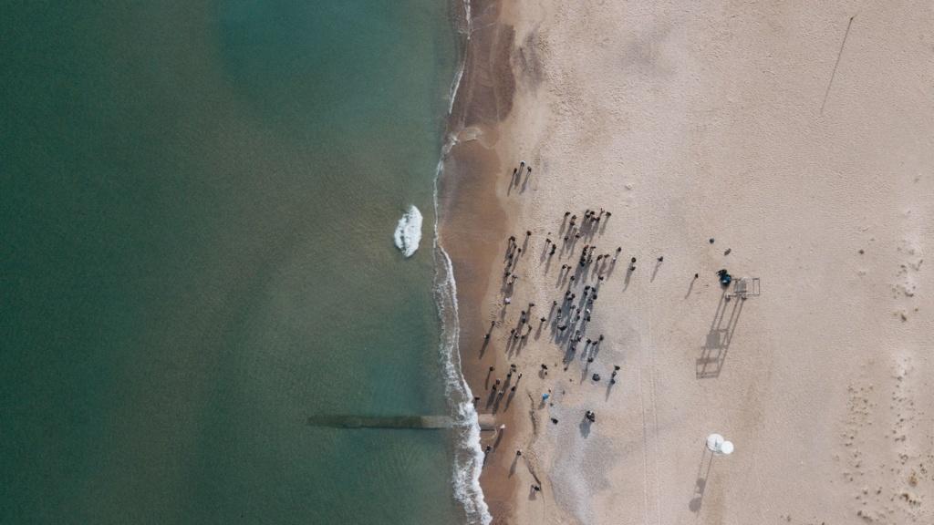 Strand in Valencia aus Vogelperspektive