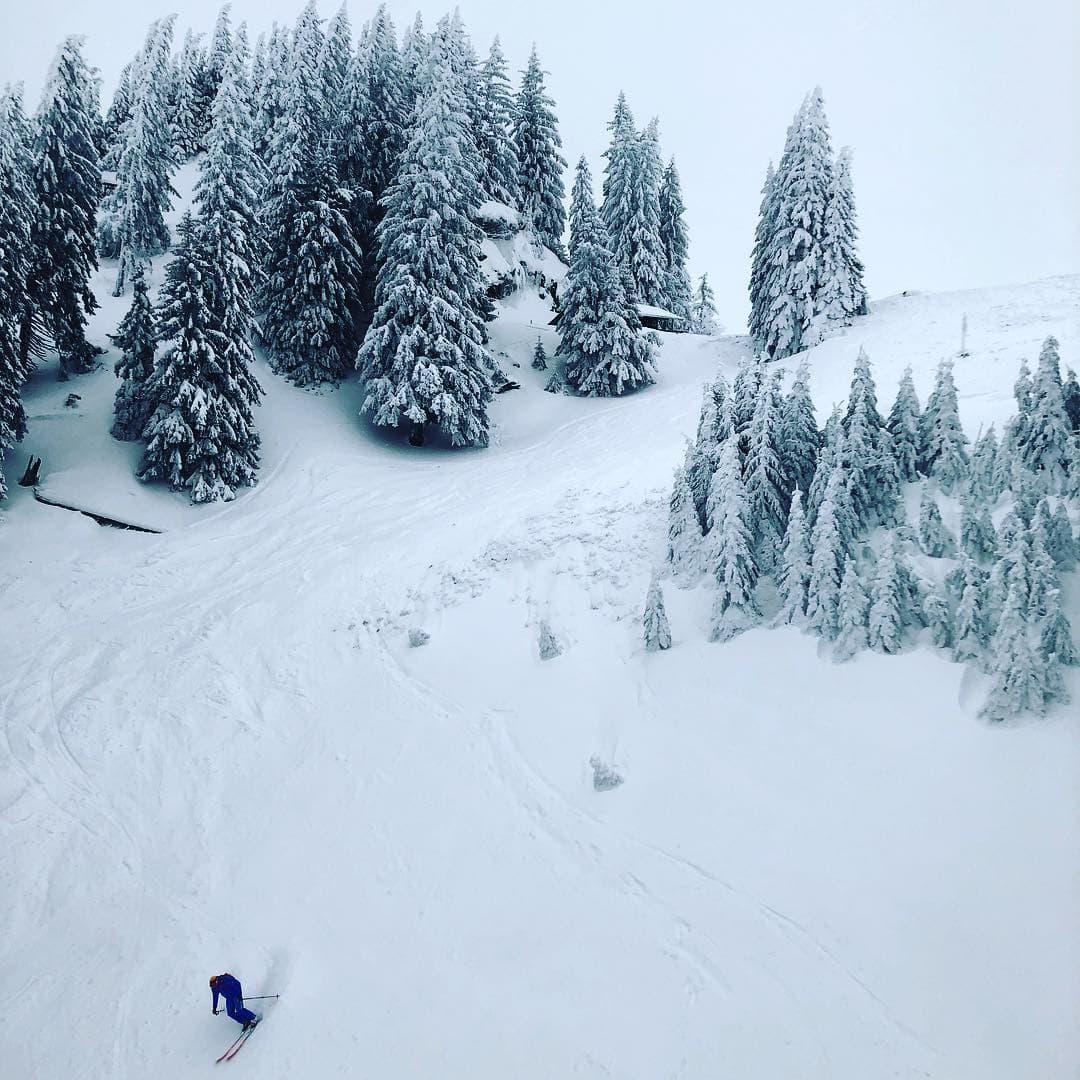 Einsam und allein auf der Piste am Wallberg zieht dieser Skifahrer seine Kurven. Fotografiert von @fraumuksch, die gerade in der Region am #Tegernsee verweilt. #reportervorort #travelgram #passionpassport #welivetoexplore