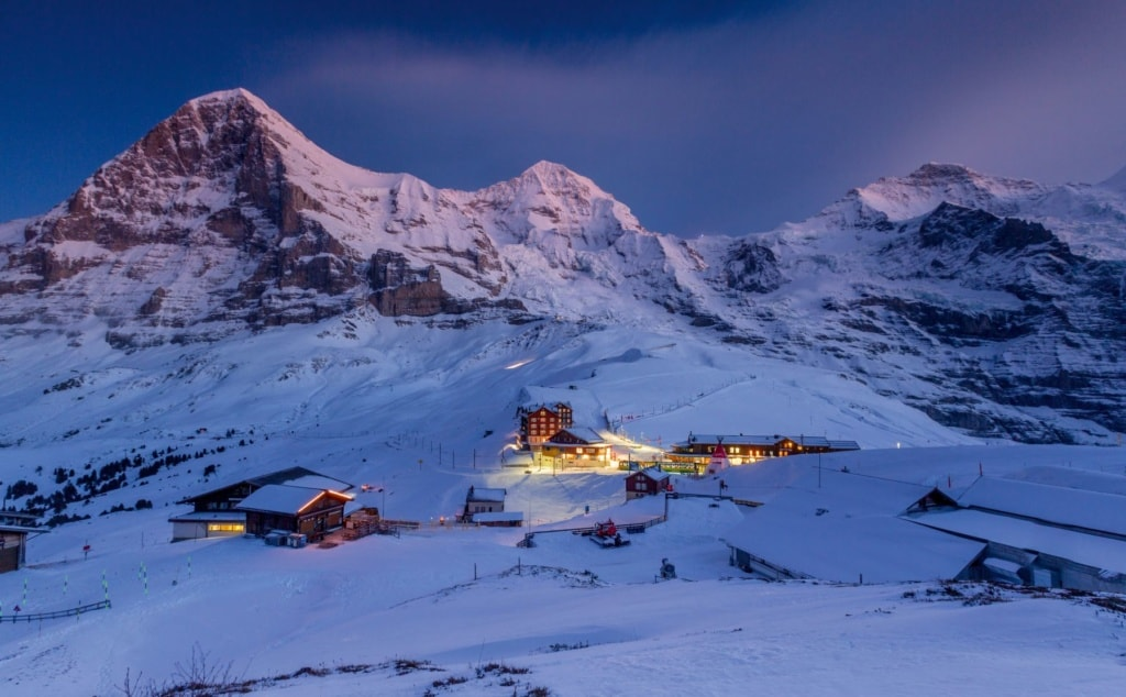 Abendatmosphäre Kleine Scheidegg Schweiz Winter