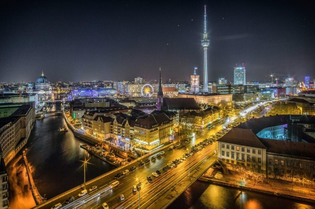 Berlin-Panorama bei Nacht