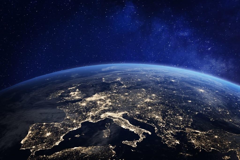 Blick aus dem Weltall auf Europa