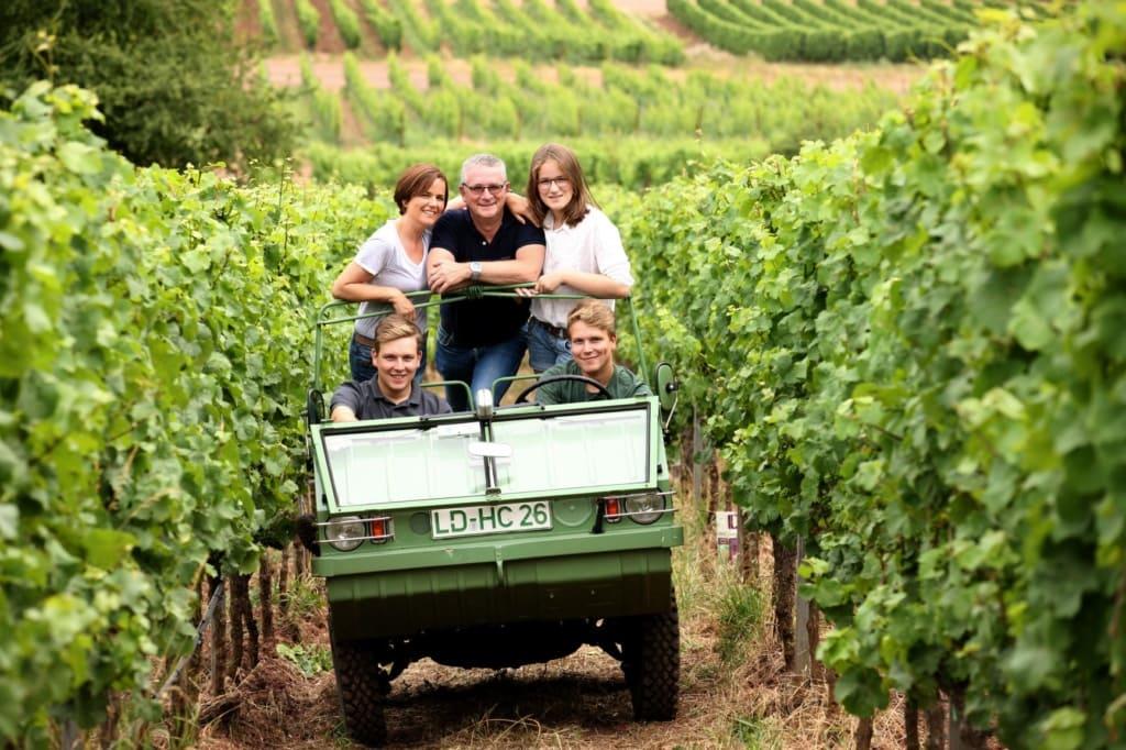 Familie Haflinger im Kleinwagen im Weingut